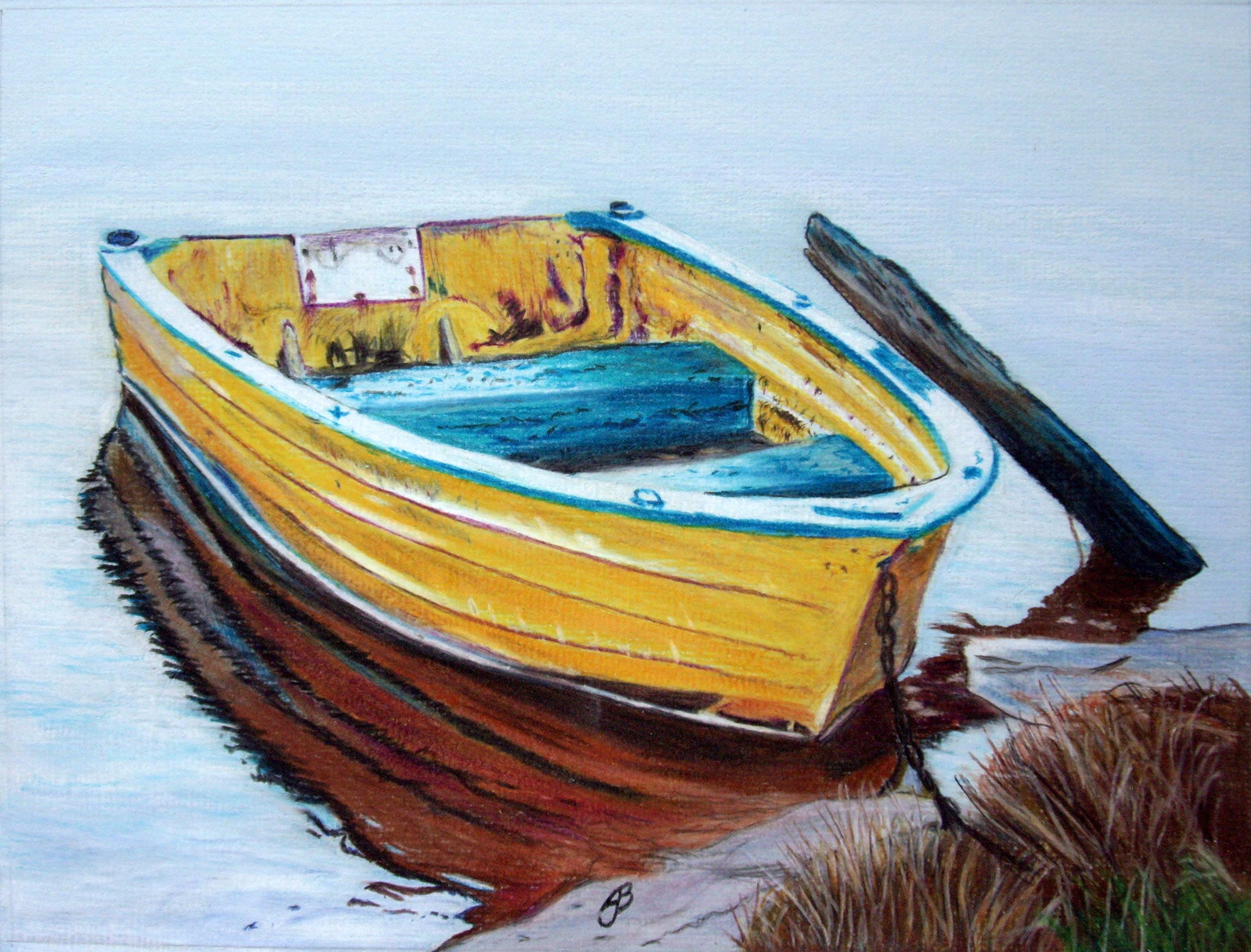 Jon Boat Color Pencil Sketch