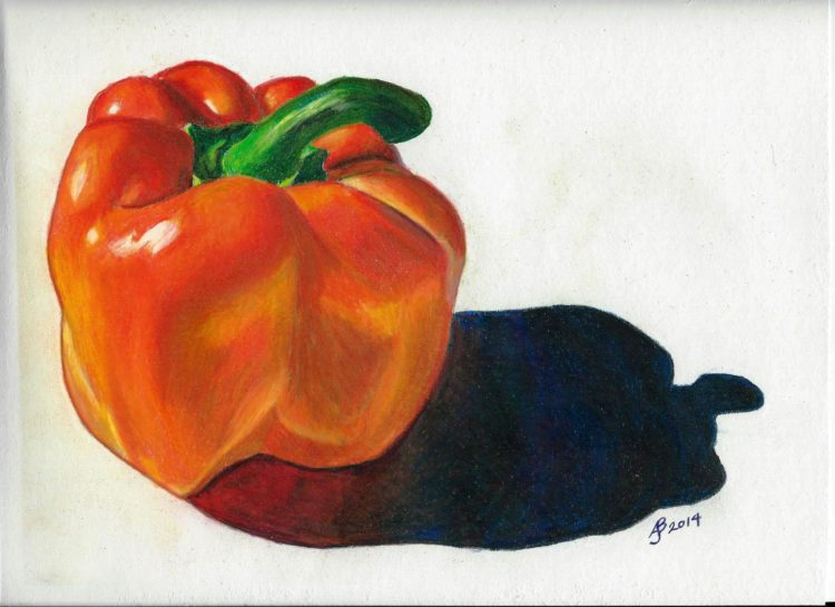 The bright bell pepper