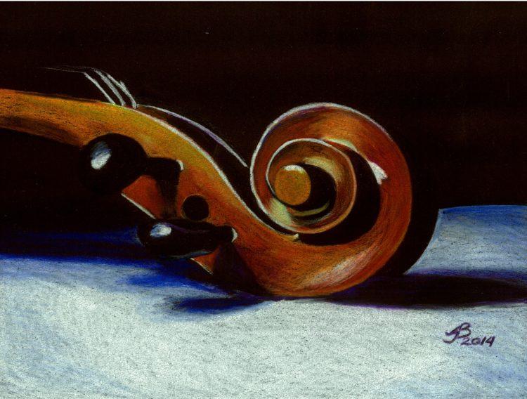 Violin in colorded pencil